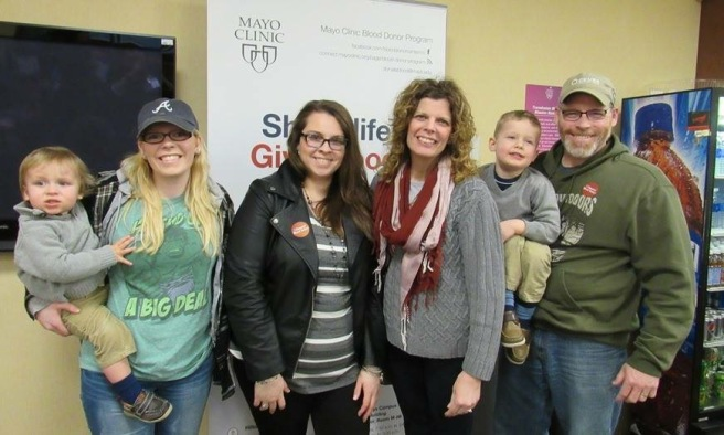 Blood Donation Miller and Lindberg Family 2016